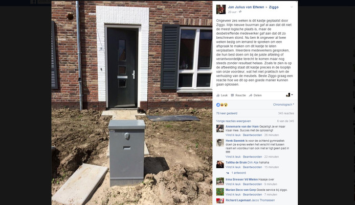 Met een bericht op Facebook wil Jan Julius van Elferen tot een oplossing te komen.