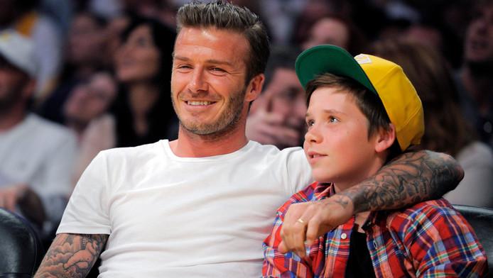 David Beckham met zijn zoon Brooklyn.