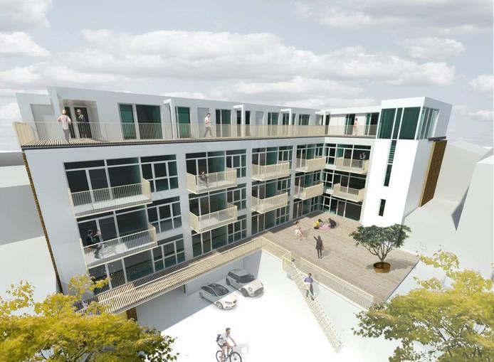 Een impressie van de omgebouwde school aan de Kortestraat in Arnhem. Illustratie Mutos City Appartments