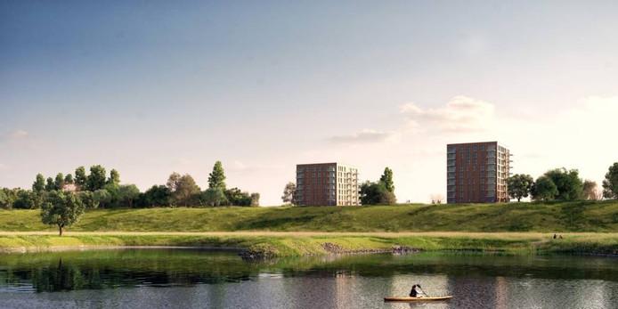 Impressie van de woontorens bij de Visserslaan in Arnhem. Illustratie Vastbouw