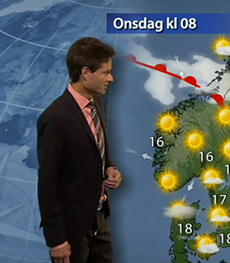 Zweedse weerman blundert op tv met open ritssluiting