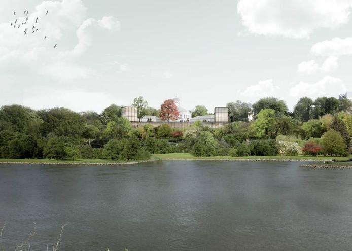 Cruz y Ortiz Amsterdam en laura alvarez architecture willen twee vleugels ontmantelen en met nieuwe paviljoens een 'bescheiden icoon in het landschap' maken. Het museum moet een eenheid worden.
