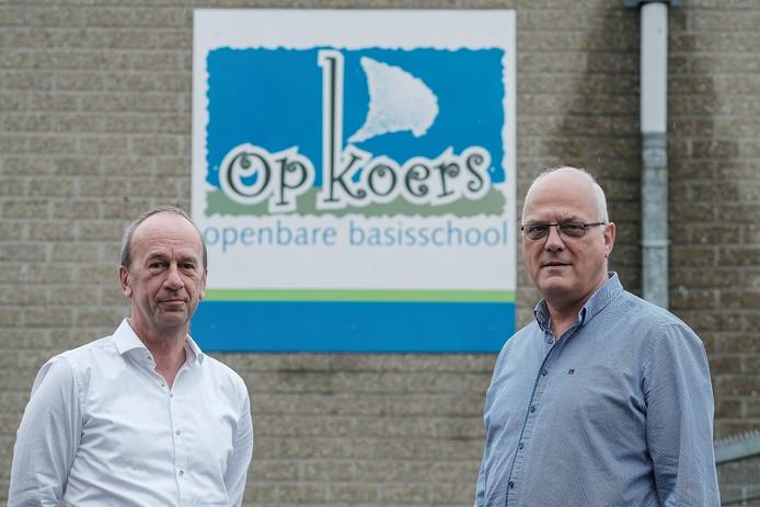 De bestuurders Arno Lentfert (Reflexis) en Frans Stieber (rechts) op het schoolplein van basisschool Op Koers in Varsseveld.