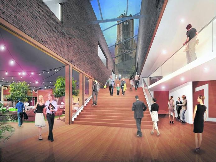 Impressie van het plan voor een nieuw filmhuis op het Arnhemse Kerkplein. Illustratie DP6 Architectuur