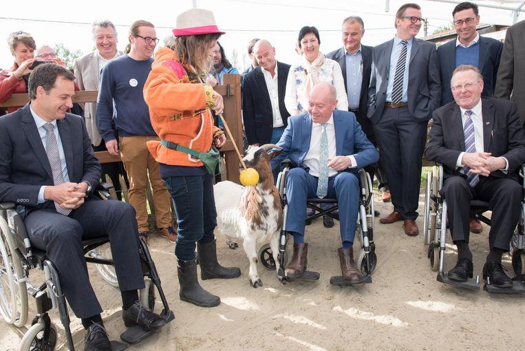 De boerderijdieren, zoals deze geit, worden in De Kleppe gebruikt als therapie voor mensen met een handicap.