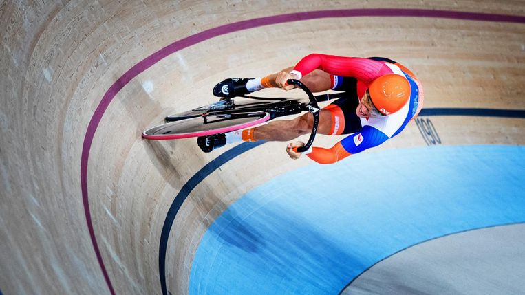 Theo Bos op de olympische baan © anp Beeld anp