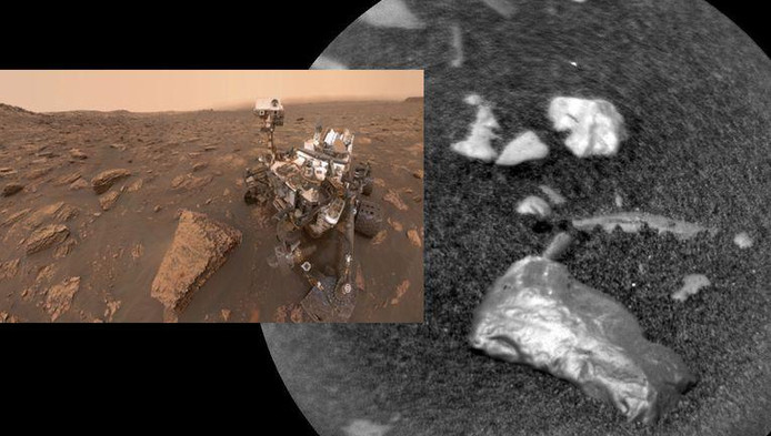 """Un objet inconnu """"particulièrement brillant"""" a été repéré sur l'une des images prises récemment par Curiosity, indique la Nasa qui a décidé de renvoyer son rover étudier la pierre baptisée """"Little Colonsay."""""""