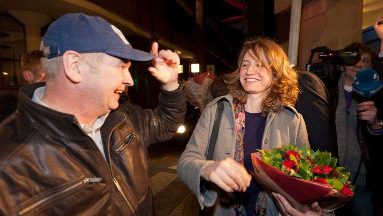 SP-Tweede Kamerlid Sharon Gesthuizen en Jan Marijnissen. Beeld anp