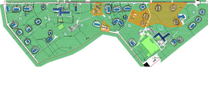 De verbouwing van azc Gilze start begin 2020. In vier jaar tijd worden de panden opgeknapt en enkele kantoren gebouwd. In oranje staan de gebouwen die in fase een aan de beurt zijn.