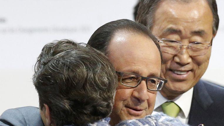 François Hollande met Christiana Figueres van de VN. Beeld reuters