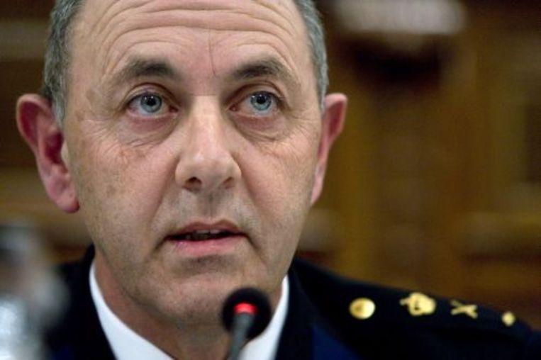 Korpschef Aad Meijboom van Rotterdam-Rijnmond tijdens de presentatie van het rapport over de rellen in Hoek van Holland. ANP Beeld