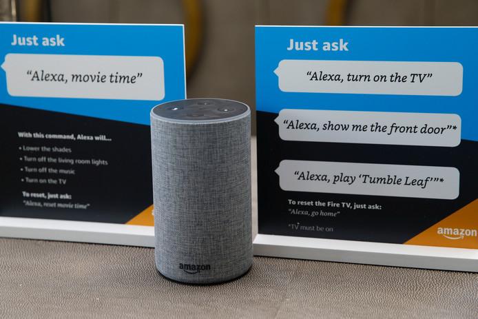 Amazon's Alexa kan worden ingeroepen met de slimme speaker Echo, die nog niet in Nederland verkrijgbaar is.