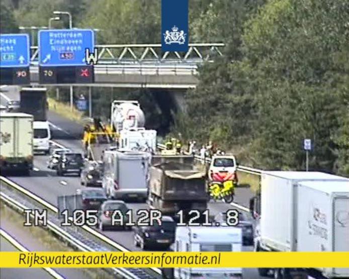 De A12 na de aanrijding van maandagochtend.