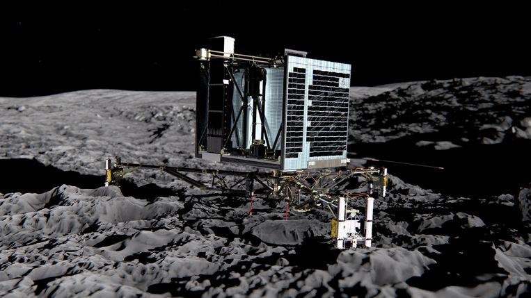Artist impression van de landing van Rosetta. Beeld ANP
