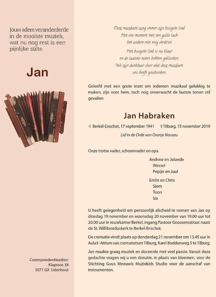 Rouwkaart Jan Habraken