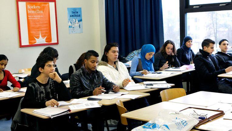 Leerlingen van de ROC-school Midden Nederland in Utrecht Beeld anp