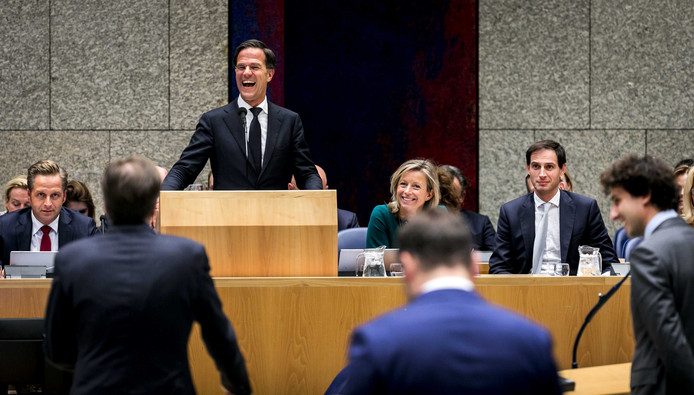 Premier Mark Rutte heerst tijdens de Algemene Politieke Beschouwingen.