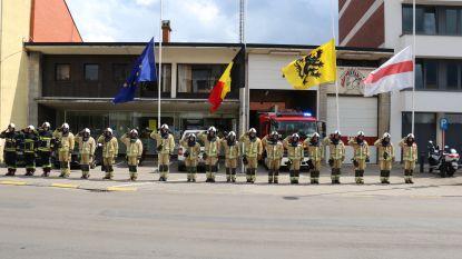 Video. Brandweerzone houdt minuut stilte ter ere van overleden brandweermannen