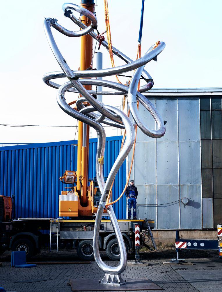 Proefopstelling van Pendulum bij gieterij Schmees in Pirna, bij Dresden.  Beeld FRISO KEURIS