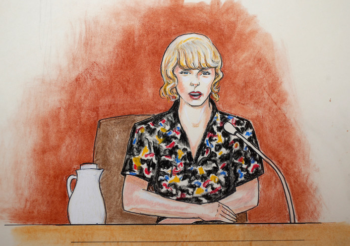 De rechtbanktekening van Taylor Swift.