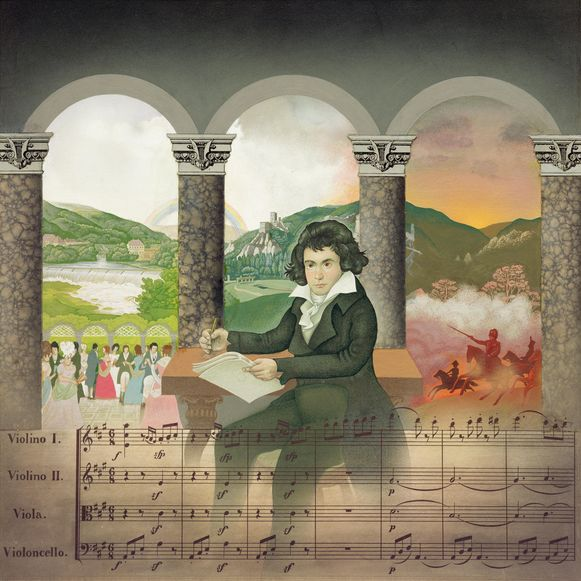 AW90373 The Young Beethoven (oil on panel) by English School, (20th century); 35.5x35.5 cm; Private Collection; English, copyright unknown