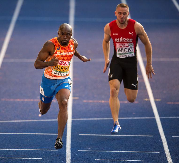 Churandy Martina tijdens zijn halve finale op de 100 meter. Beeld Getty Images