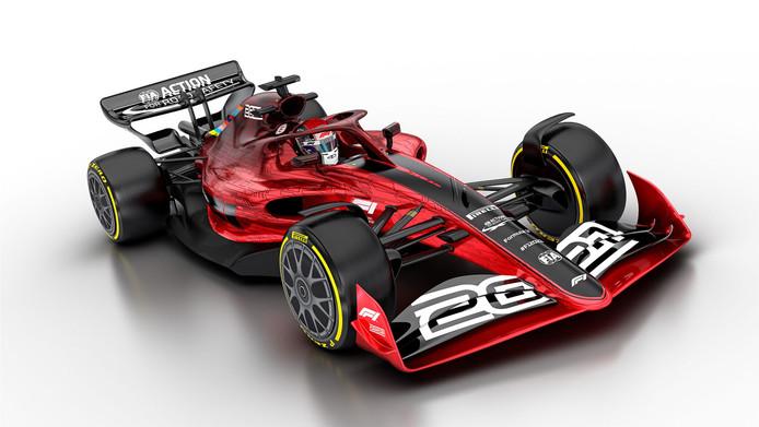 De nieuwe concept-auto naar aanleiding van de technische regels, die in 2022 het licht moet zien in het F1-seizoen.