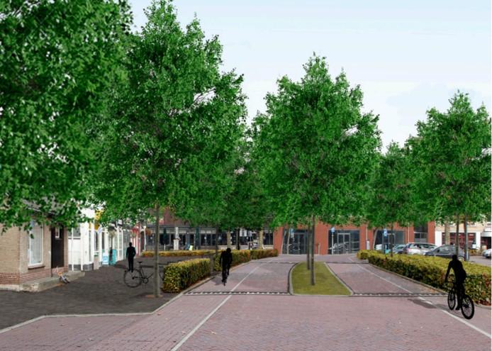 Zo komt de Birgittinessenstraat in Uden er na de reconstructie ongeveer uit te zien.
