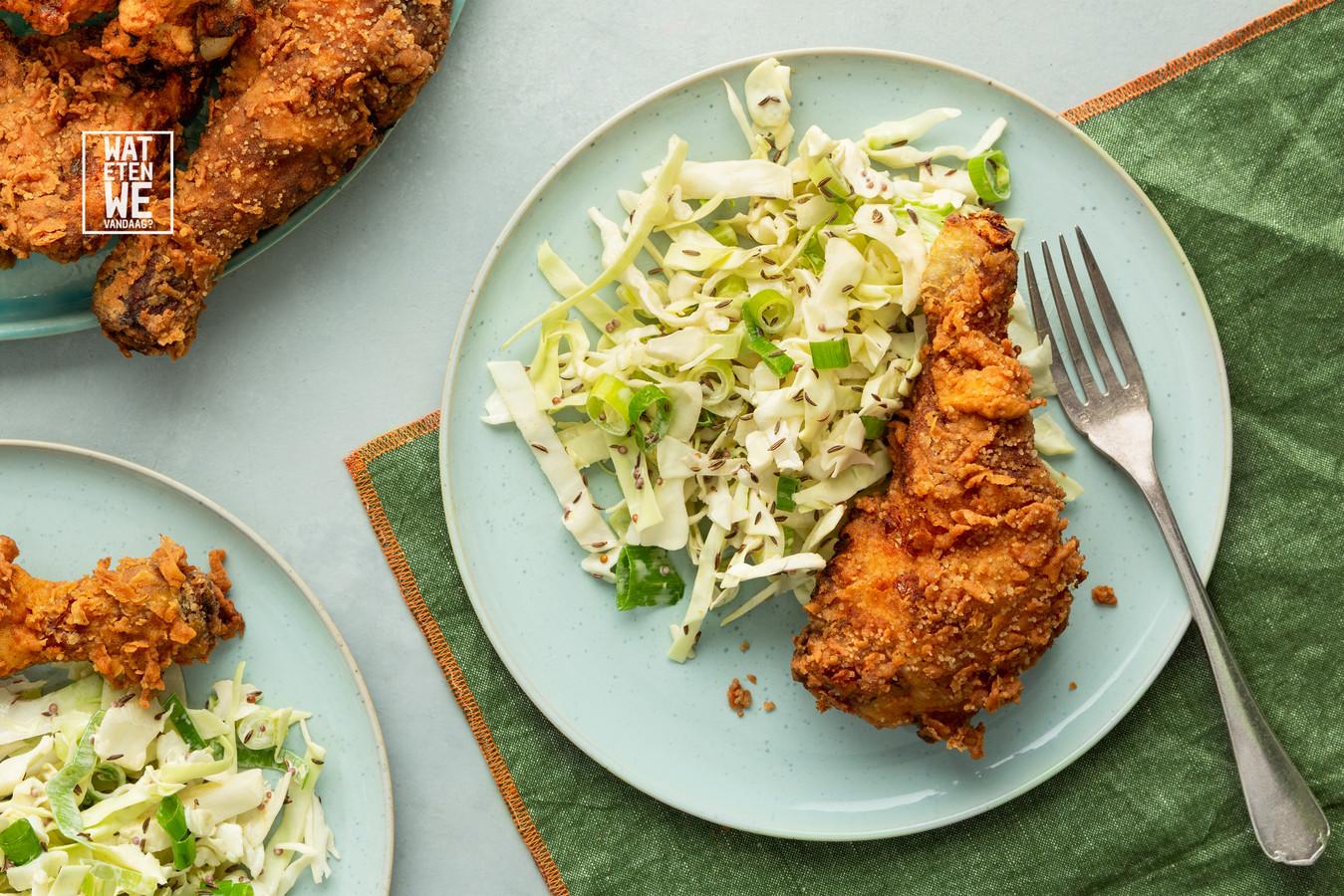 Fried chicken en coleslaw