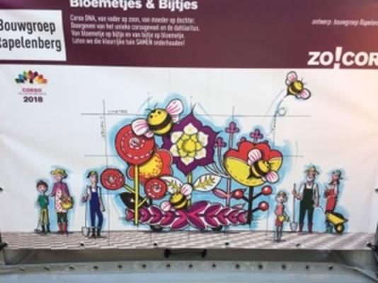 Het ontwerp 'Bloemetjes en Bijtjes' van de nieuwe bouwgroep van het Valkenswaardse bloemencorso.
