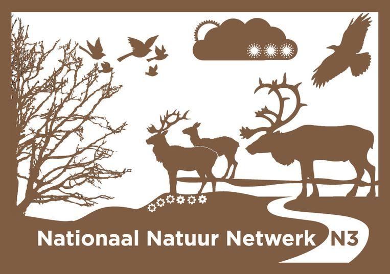 Het bord dat de gebieden moet aanduiden die bij het Nationaal Natuur Netwerk horen. Beeld Trouw