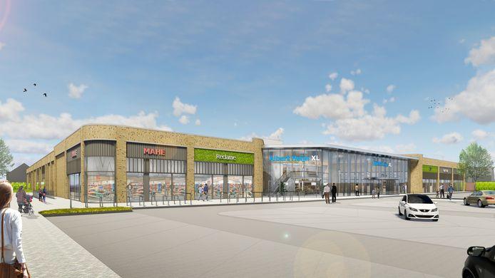 Impressie van de geplande uitbreiding van het AH XL-complex aan de Sint Jacobslaan te Nijmegen.
