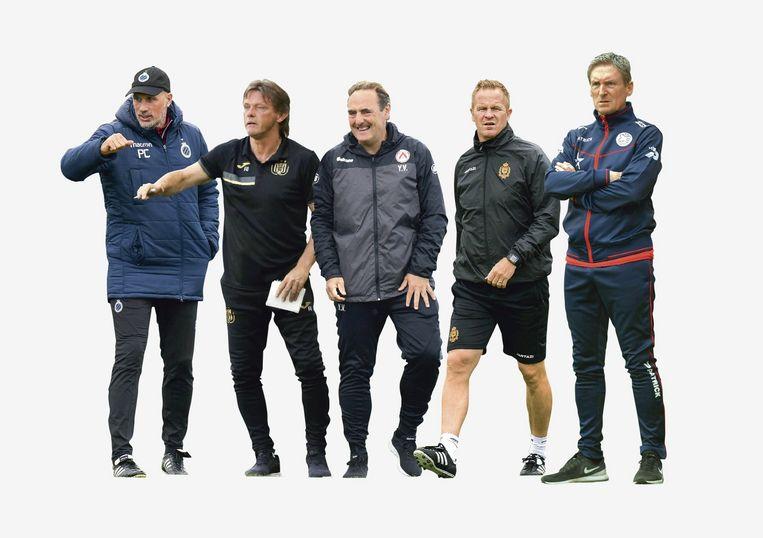 Clement, Vercauteren, Vanderhaeghe, Vrancken en Dury: de vijf Belgische coaches in 1A.