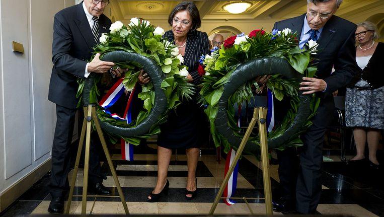 Bij een kranslegging voor de slachtoffers van de oorlog in voormalig Nederlands-Indië. Archieffoto. Beeld ANP