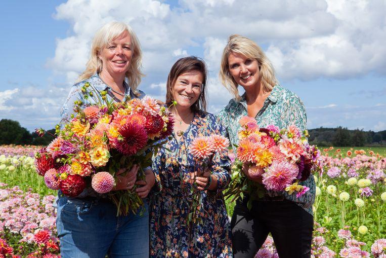 Marlies Weijers, Katja Staring en Linda van der Slot op deFAM Flower Farm in Lisse. Beeld