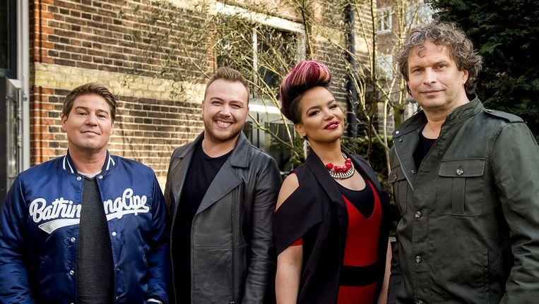 Martijn Krabbe, Jamai Loman, Eva Simons en Ronald Molendijk tijdens de persviewing van het nieuwe seizoen van de talentenjacht Idols op RTL 5. Beeld anp