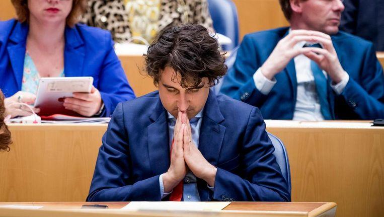 GroenLinks-fractievoorzitter Jesse Klaver tijdens het debat over de formatie. Beeld Freek van den Bergh / de Volkskrant