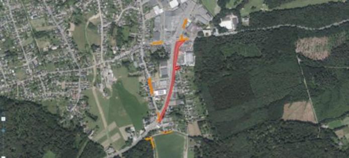 Déviation du chantier de la route du Condroz.