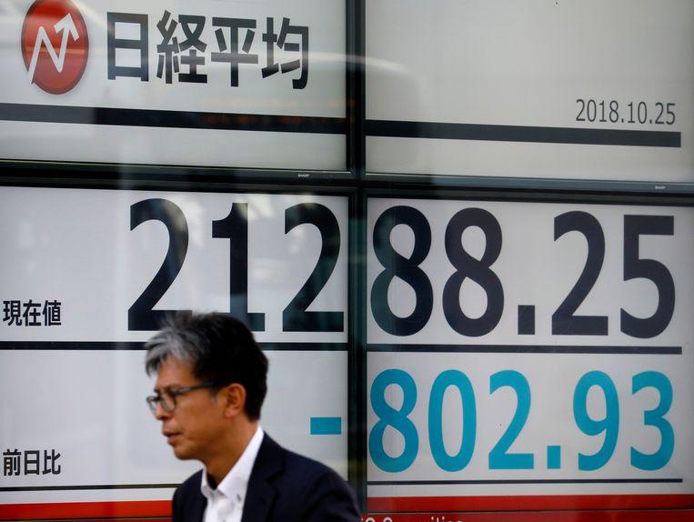 Een zakenman loopt langs een bord met de Nikkei, die later zelfs met 822.45 punten, of 3,7 procent daalde op 25 oktober. Beeld EPA