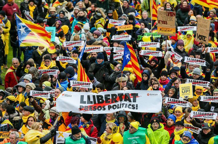 In Catalonië wordt regelmatig geprotesteerd tegen de opsluiting van de politieke gevangenen.