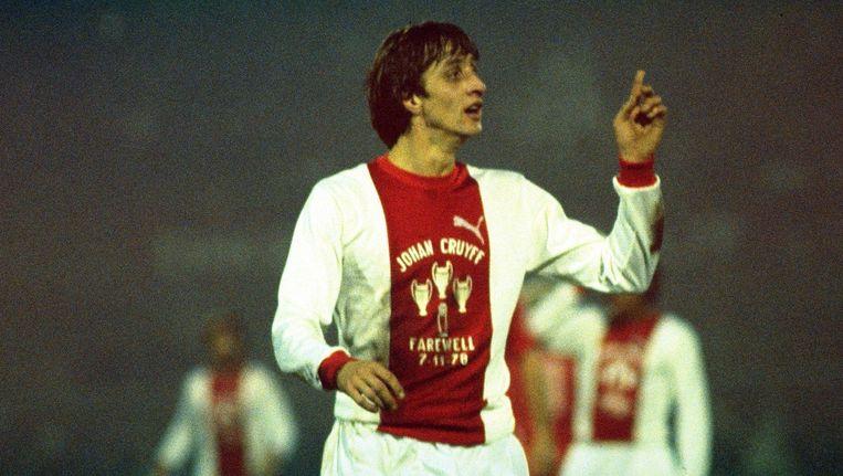 Johan Cruijff bij zijn afscheidswedstrijd in 1978. Beeld Anp