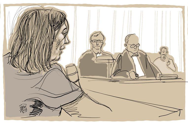 """Getuige Sarah D., een vriendin van Tine Nys, getuigde tijdens het proces. """"Tine wou alleen maar rust en die krijgt ze nog altijd niet"""", klonk het."""