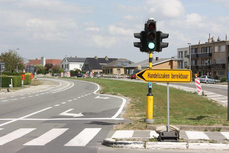 Momenteel staat er slechts een beperkt bord, vlak voor de start van de werfzone in de Ringlaan in Wenduine.