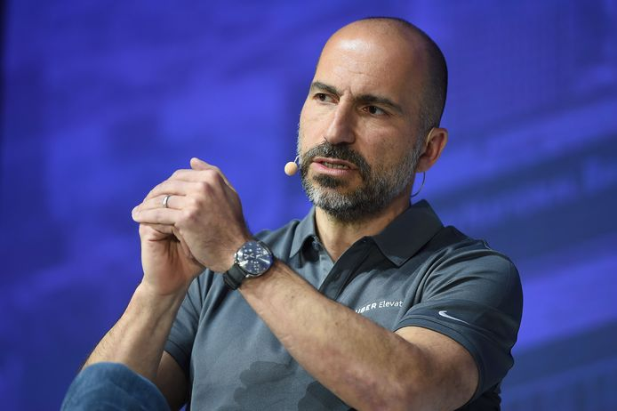 Uber Chief Executive Officer Dara Khosrowshahi tijdens de tweede jaarlijkse Uber Elevate Top, afgelopen woensdag in Los Angeles.
