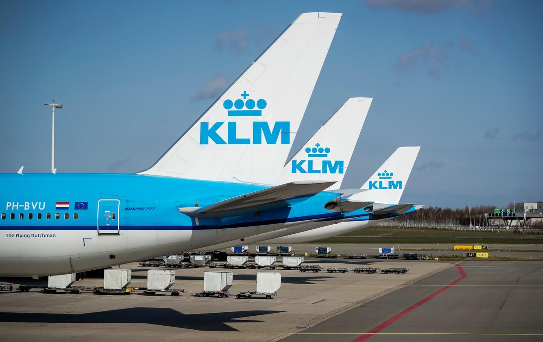 Vliegtuigen aan gesloten gates op Schiphol in tijden van het coronavirus.  Beeld ANP