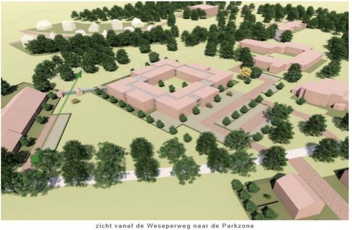 Een eerste concept-schets van de nieuwbouw van ZGR Stevenskamp. Het gaat om het complex in het midden.