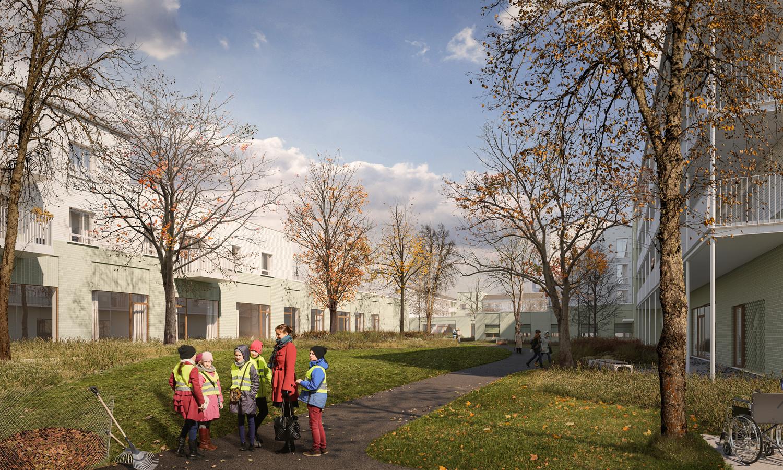Een eerste conceptbeeld dat toont hoe de nieuwe site van 't Withuys er uit zal zien. Een groen pad loopt vanaf de molen tot aan Hoeve Ter Kerst tussen de gebouwen