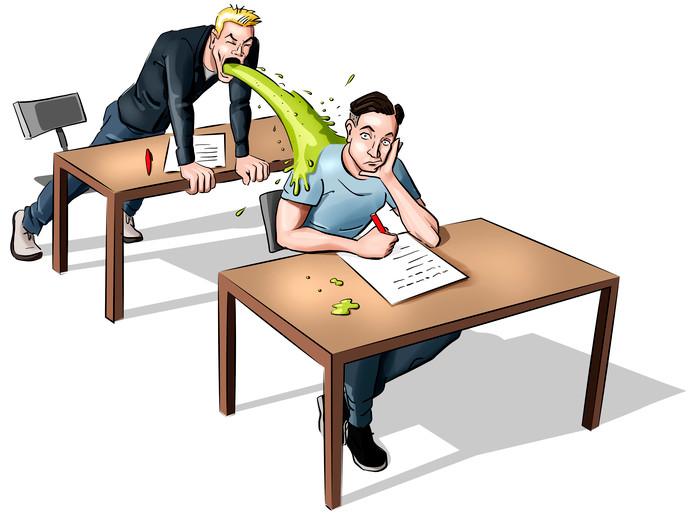 Een havist werd tijdens het laatste halfuur van zijn examen Engels ondergekotst door zijn achterbuurman.