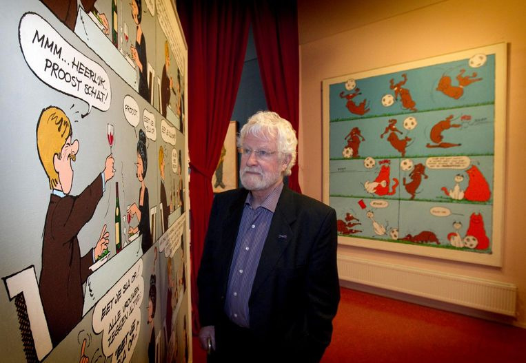 Striptekenaar Jan Kruis in het Stripmuseum in Groningen. Beeld anp