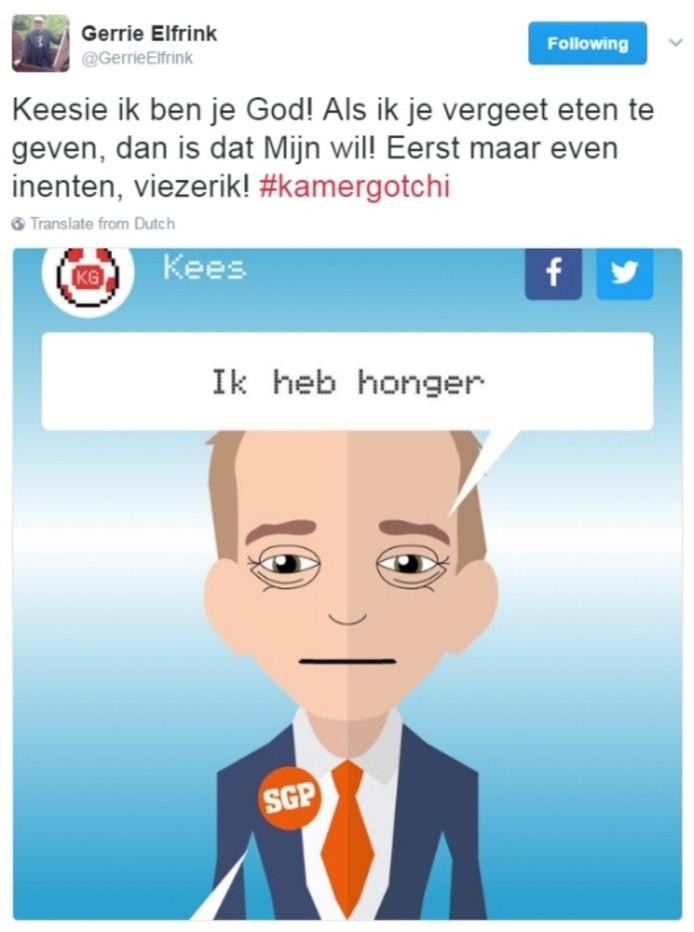 Tweet Gerrie Elfrink, wethouder te Arnhem, aan het adres van diens 'kamergotchi' Kees van der Staaij. Illustratie: Twitter